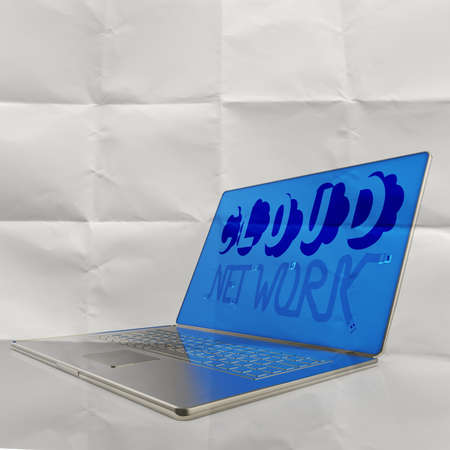 hand drawn CLOUD NETWORK on 3d computer laptop on crumpled paper as concept photo