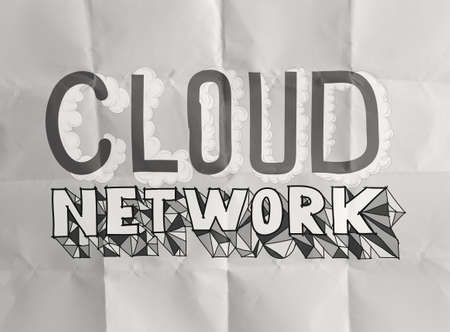 design word hand drawn CLOUD NETWORK on crumpled paper as concept photo