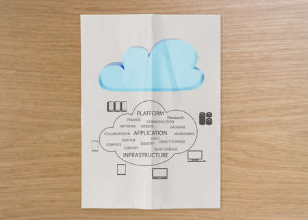 graphic cloud network diagram on crumpled paper with wooden board as concept photo