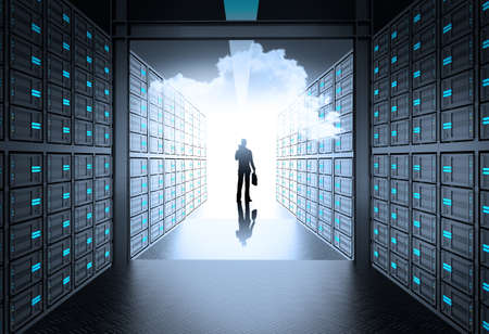 engineer business man in 3d network server room and cloud inside as concept  Banco de Imagens