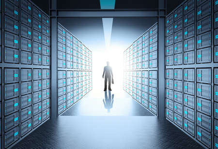 engineer business man in 3d network server room as concept photo