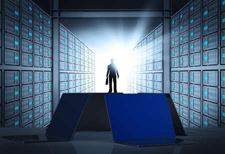 engeneer business man in 3d network server room as concept  photo