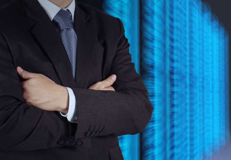 businessman  and server room background as concept  photo
