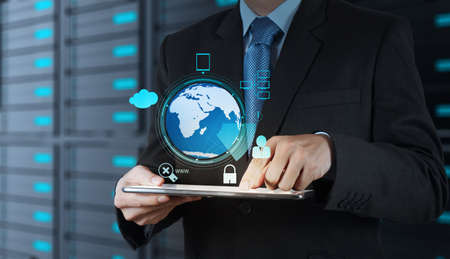 Businessman hand working with 3d globe with Cloud Computing diagram on the new computer interface as concept security  photo