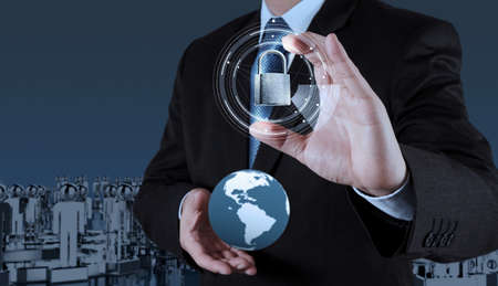 businessman hand show 3d world  with padlock as Internet security online business concept photo