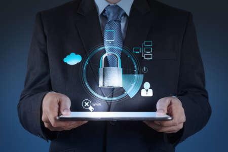 businessman hand show 3d world  with padlock as Internet security online business concept Foto de archivo