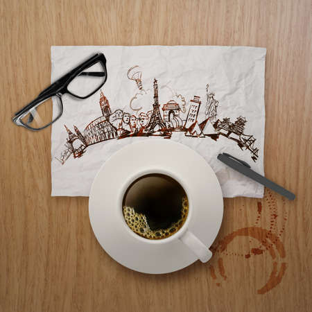 3d cup of coffee traveling around the world on crumpled paper and wooden background as concept  photo