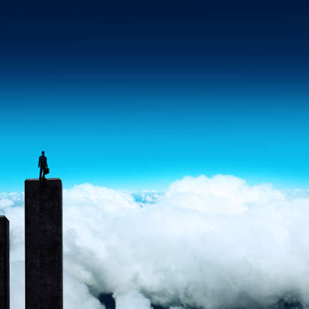 businessman stands successfully on building top Looking Towards the future as concept