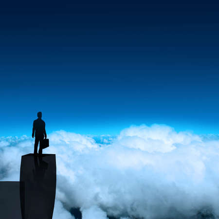 businessman stands successfully on building top Looking Towards the future