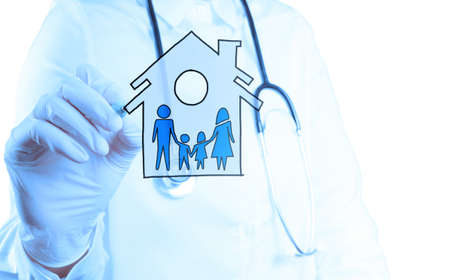 medical doctor hand drawing family Healthcare icon as concept  photo