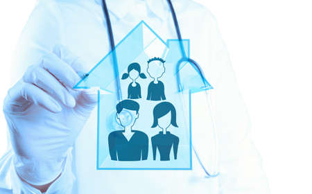 medical doctor hand drawing family Health care icon as concept  photo