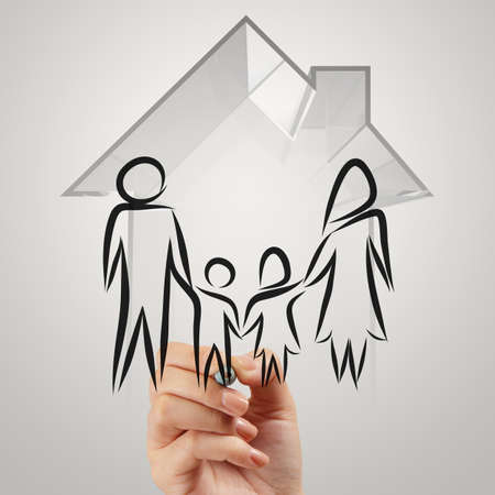 hand drawing 3d house wtih family icon as insurance concept photo