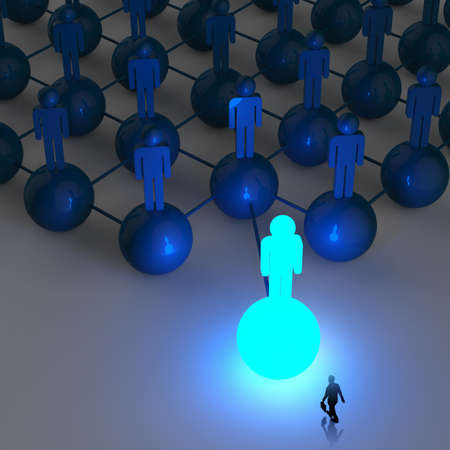 net meeting: businessman walking 3d light growing human social network and leadership as concept Stock Photo