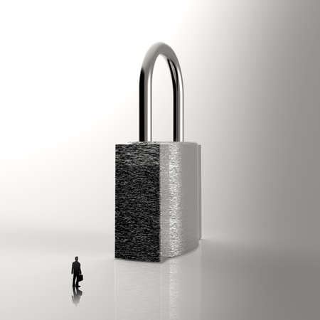 businessman looking to 3d metal padlock as security concept photo