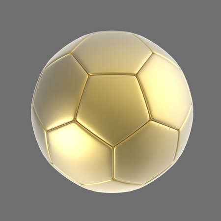 shootout: 3d gold soccer ball isolated on background