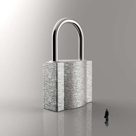 businessman walking to 3d metal padlock as security concept photo
