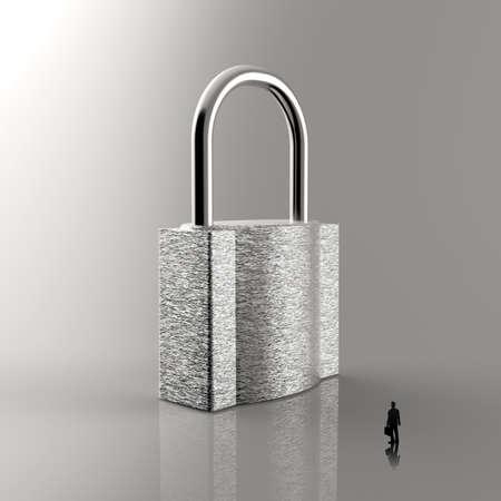 businessman walking to 3d metal padlock as security concept photo