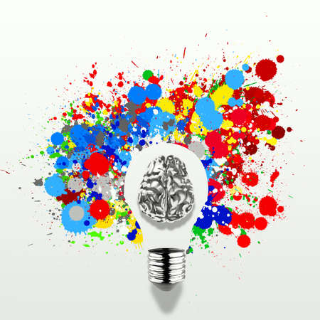 Creativity 3d metal human brain in visible light bulb with splash colors background as concept photo