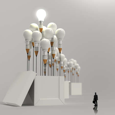 businessman looking at 3d pencil and light bulb concept outside the box as creative and leadership concept  photo