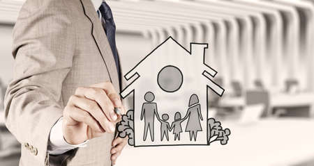 hand draw family and house as insurance concept  photo