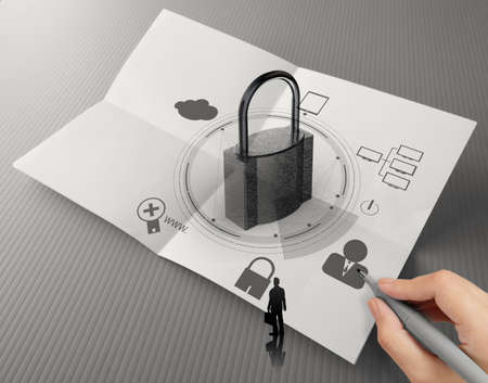 hand drawing cloud network diagram with padlock on crumpled paper as Internet security online business concept  photo
