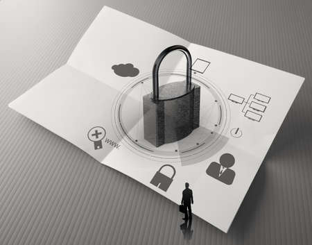 cloud network diagram with padlock on crumpled paper as Internet security online business concept  photo
