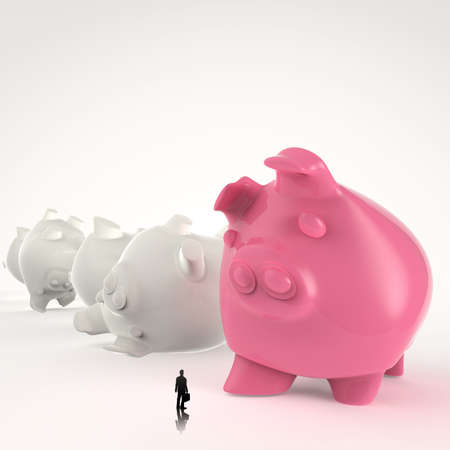 businessman looking at 3d piggy bank standing  as concept  photo