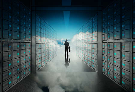 network server: engineer business man in 3d network server room and cloud inside as concept  Stock Photo