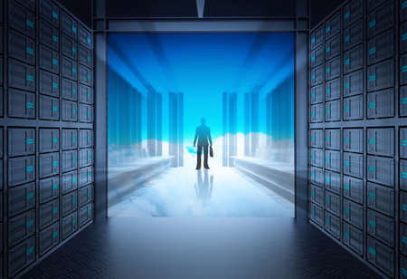 3d network server room and cloud outside as concept  photo