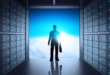 engineer business man in 3d network server room and cloud outside as concept  photo