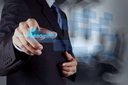 businessman pointing to leadership skill concept on virtual screen as concept  photo