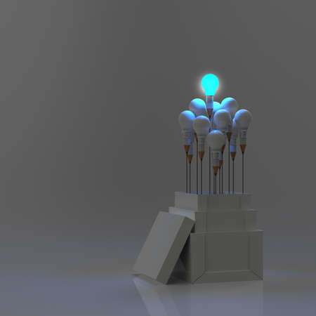 pencil light bulb 3d as think outside of the box as concept  photo