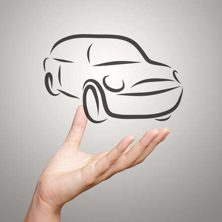 hand showing design sketch car as concept photo