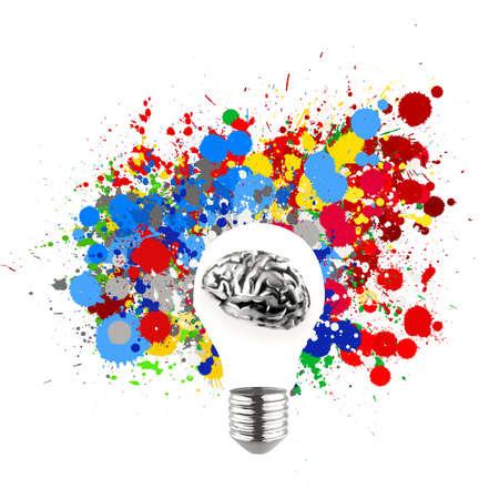 創造性 3 d 金属のヒトの脳がスプラッシュで目に見える電球色の背景のコンセプトとして 写真素材