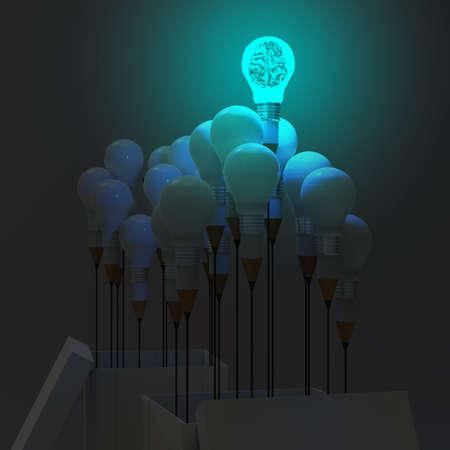 open brain: 3d metal human brain inside l light bulb  as thinking outside the box concept