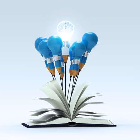 open book with 3d metal human brain inside pencil light bulb as concept  photo