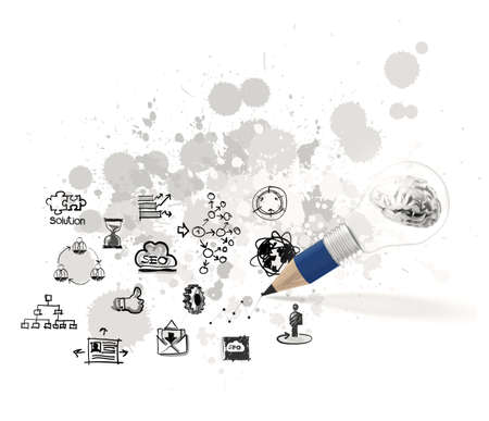 metal light bulb icon: 3d metal human brain inside pencil light bulb with business strategy as concept  Stock Photo