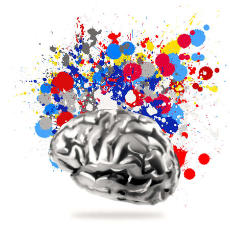 Creativity 3d metal human brain with splash colors background as concept  photo