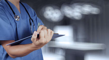 success smart medical doctor working with operating room  photo