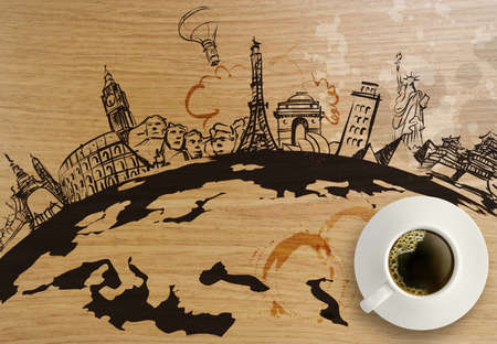 3d coffeee cup with traveling around the world wooden background as concept  photo