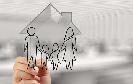 hand drawing 3d house with family icon as insurance concept  photo