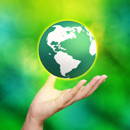 save the earth: 3d earth globe in his hands  Stock Photo