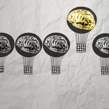 hand drawn air balloons with 3d metal brain on crumpled paper as leadership concept  photo