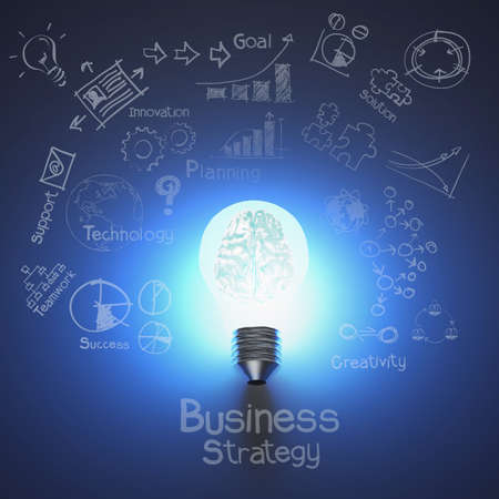 metal light bulb icon: 3d metal brain inside light bulb and drawing business strategy as concept