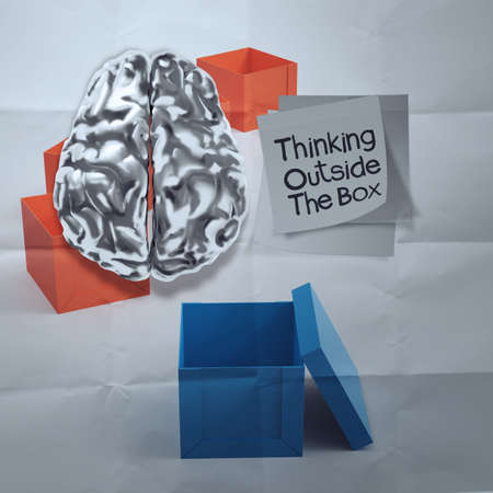 3d brain and thinking outside the box on crumpled sticky note paper as concept photo