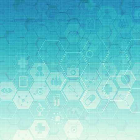 hexagon abstract medical background Stock Photo