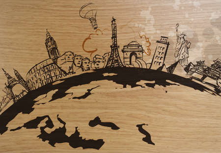 traveling around the world wooden background as concept  photo