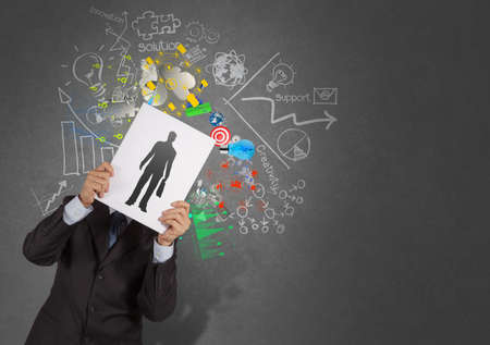 human resource management: businessman hand with book choosing people icon as human resources concept  Stock Photo