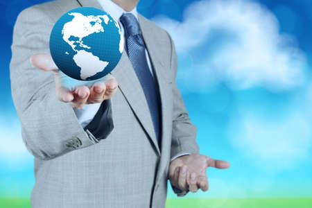 3d earth globe in his hand as concept photo