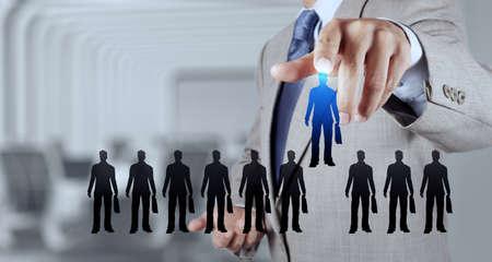 recursos humanos: las personas que eligen la mano de negocios icono como concepto de recursos humanos